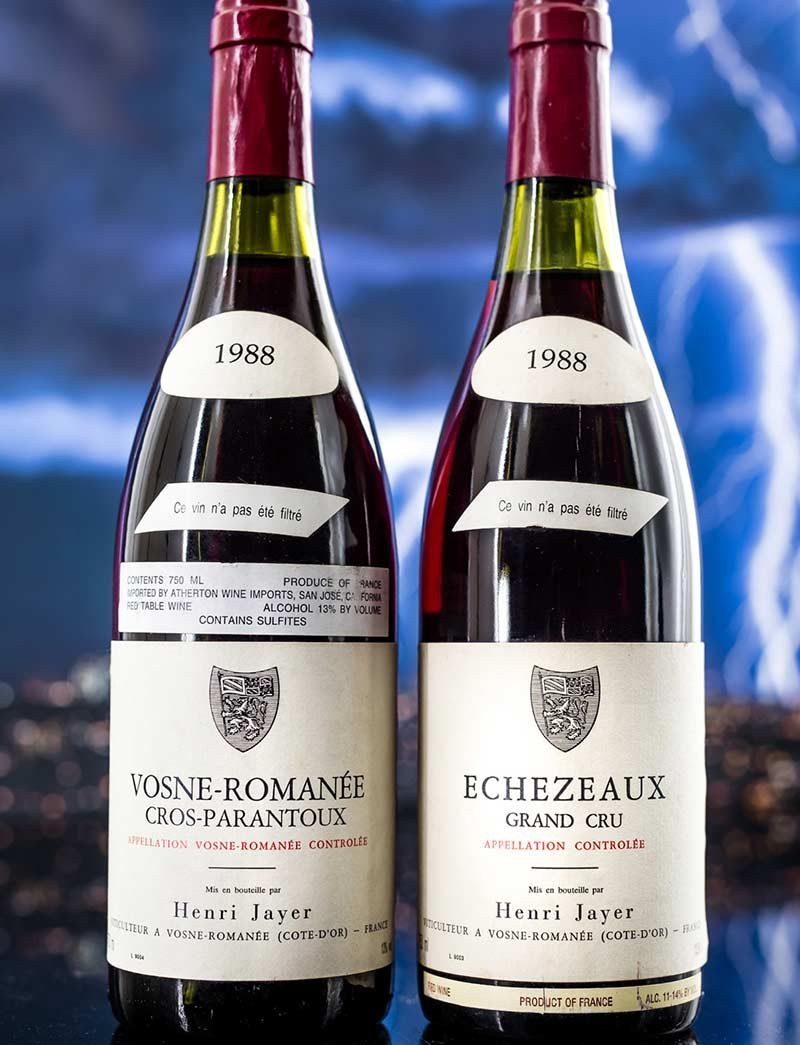 Lot 437-439: 2 bottles 1988 H. Jayer Echezeaux and parcels of 2 bottles Vosne Romanee Cros Parantoux